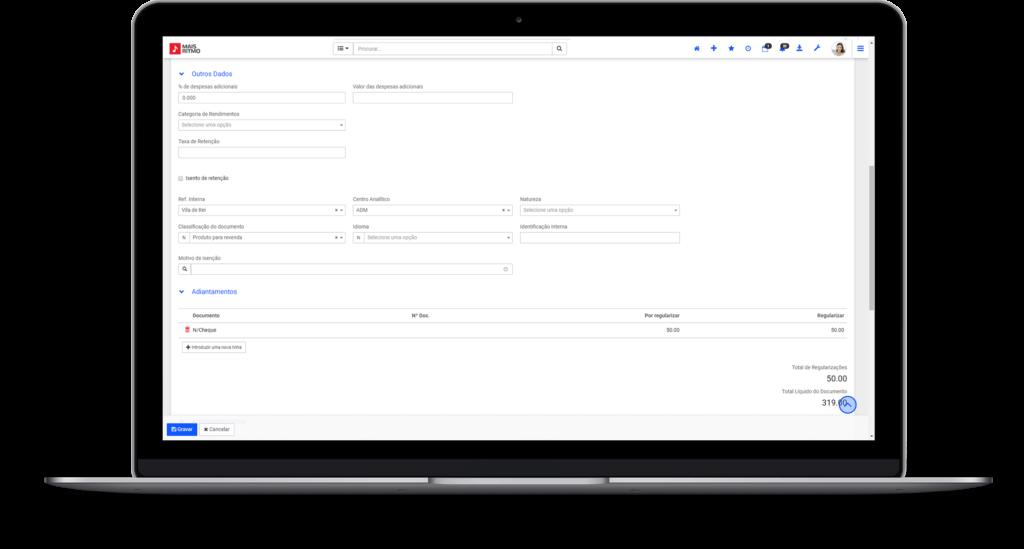 Regualizaração e Adiantamentos de Compras do Software de Gestão e ERP PHC CS v27