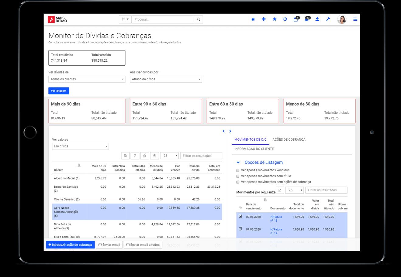 Monitor de Dívidas e Cobranças do Software de Gestão e ERP PHC CS v27