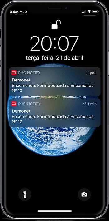 Screenshot de um dispositivo móvel com o PHC CS Notify