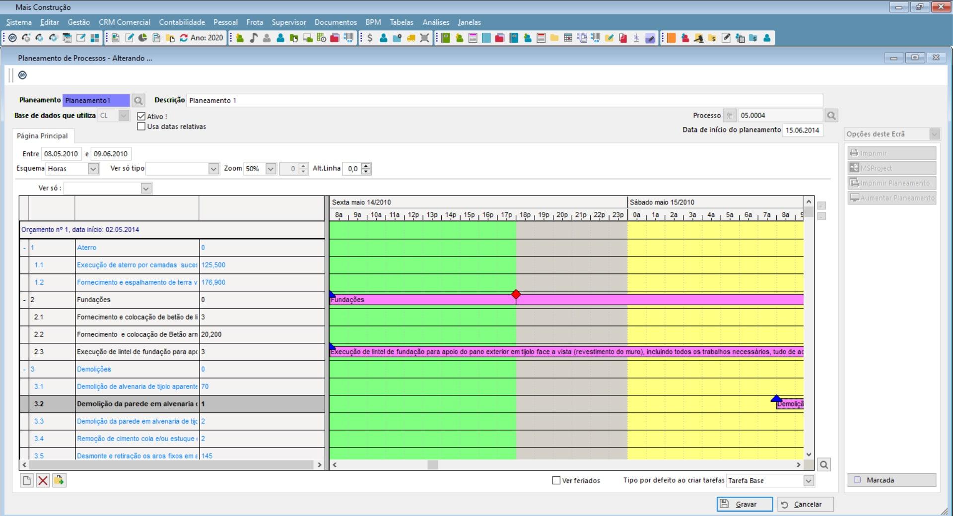 planeamento de Obras de construção civil com o Software de gestão PHC CS