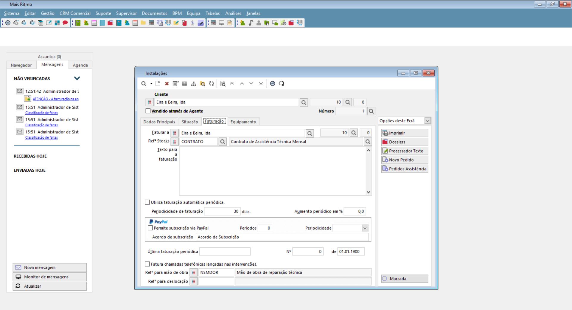 Instalações do software de suporte técnico