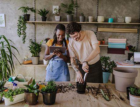 donos de uma loja a semear plantas e a gerir o seu negócio através do tablet