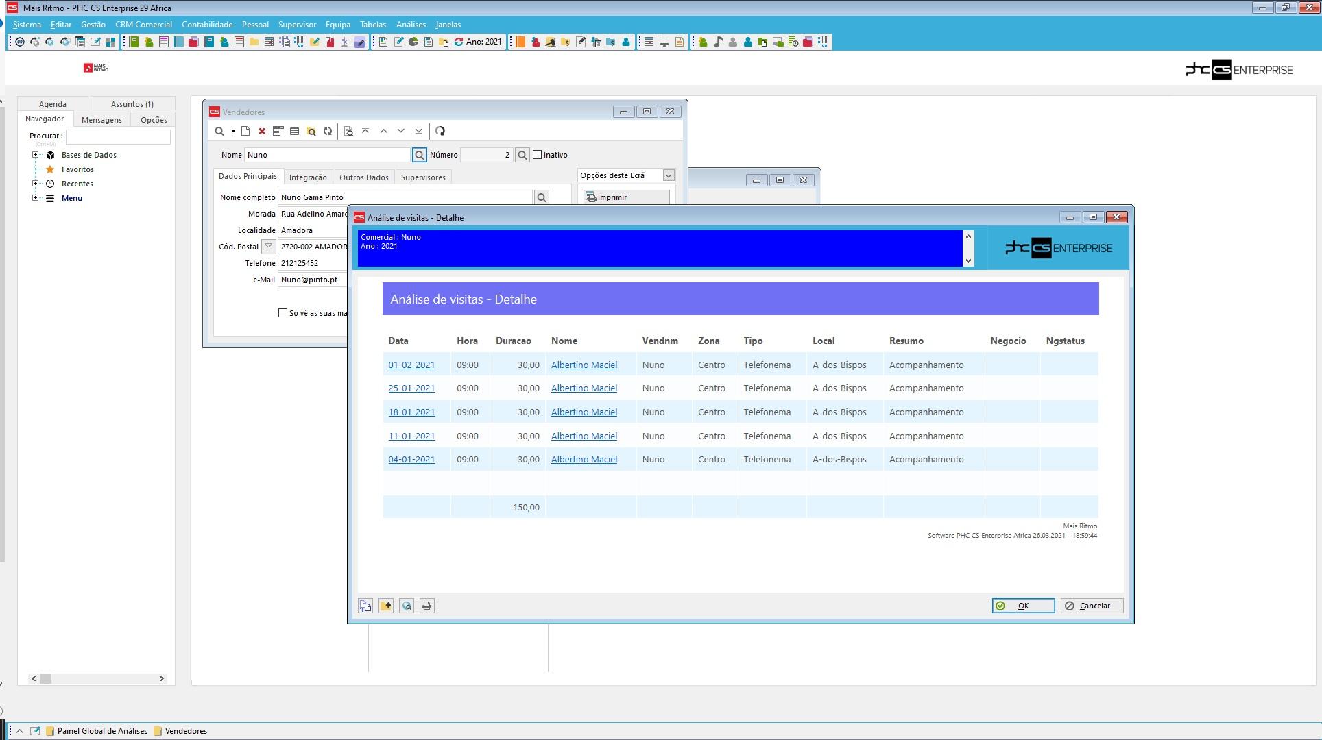 dashboard de software crm orientado para o comercial