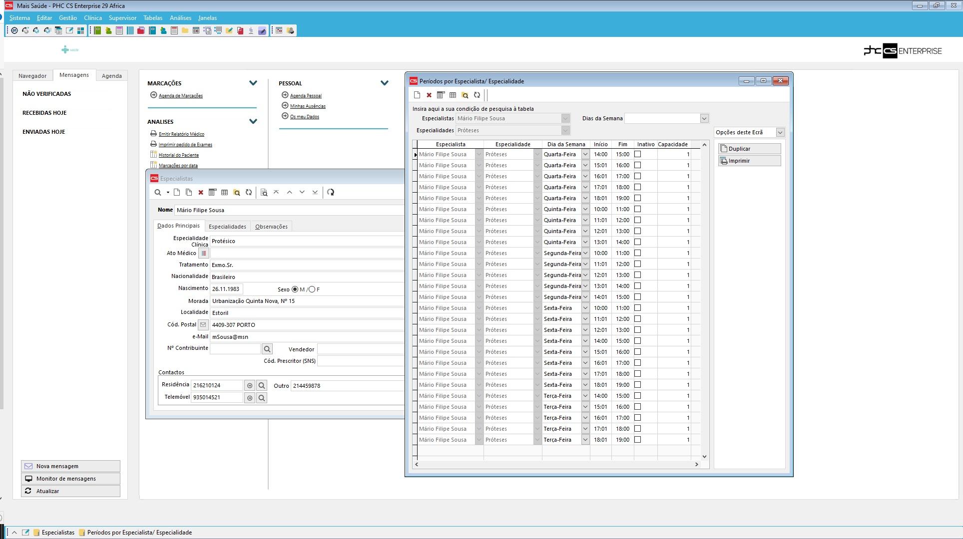 software de gestão para clínicas Funcionalidades associadas aos especialistas